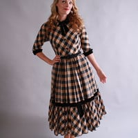 20% Off Lovebird Sale... 1940s 1950s dress / 40s 50s plaid party dress / vintage fall winter fashion