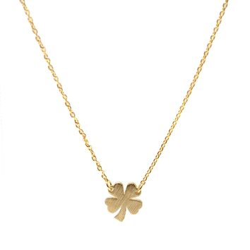 Handcrafted Brushed Metal Irish 4 Leaf Clover Necklace