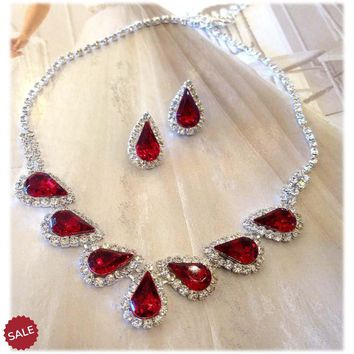 Ruby Red Teardrop Crystal Bridal Necklace and Earring Set