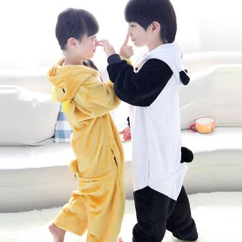 Kids Kigurumi Unicorn Pajamas Autumn Winter Homewear unicornio Children's pajamas cartoon Animal Panda pajamas Sleepwear Girls