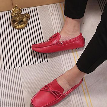 LV Louis Vuitton Men's Vintage Leather Casual Loafer Shoes red Best Quality
