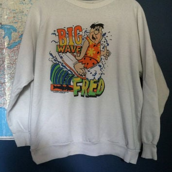90s Big Wave Fred Flintstone Surf Sweatshirt
