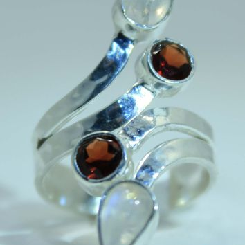 Sterling Silver Rainbow Moonstone & Garnet ring