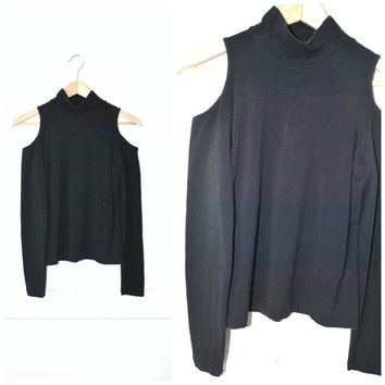 black TURTLE neck MINIMALIST club kid exposed cut out shoulders stretchy JERSEY shirt small medium large