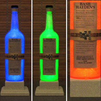 Basil Hayden Kentucky Whiskey Color Changing LED Remote Controlled Bottle Lamp Bar Light Bodacious Bottles