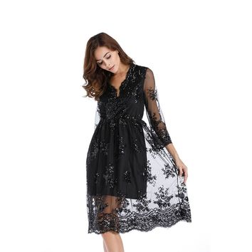 Sequins V-neck High Waist 3/4 Sleeves Knee-length Lace Dress