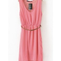 Women V Neck Asymmetric Chiffon Sleeveless Pink A Line Dark Grain Flowers Dress S/M/L@II0117p $17.99 only in eFexcity.com.