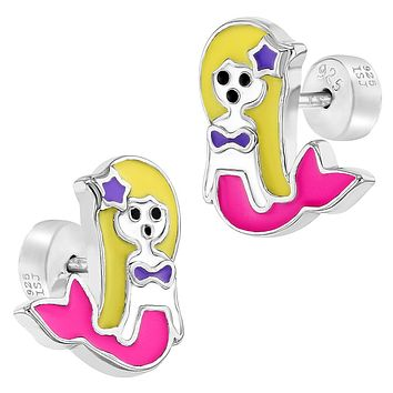 925 Sterling Silver Small Mermaid Enamel Push Back Safety Earrings for Girls