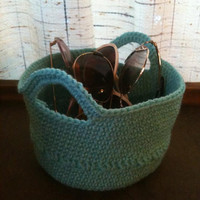 Aqua Crocheted Basket