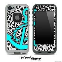 Vector Leopard Animal Print and Turquoise Anchor Skin for the iPhone 5 or 4/4s LifeProof Case