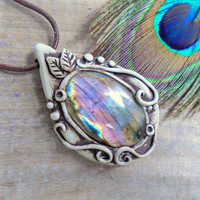 Rainbow Labradorite Purple Necklace. Clay Woodland Rustic Crystal Spiritual Jewelry.