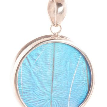 Silver butterfly pendant  - Iridescent Blue Circle Morpho Didius