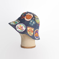Vintage 70s DENIM Hat / 1970s Patched & Embroidered Hippie Bucket Hat