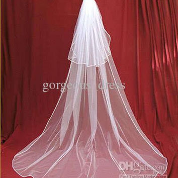No Risk Shopping Wedding Veil Bridal Veil comb Tulle Ruffles Bridal Veils Women Pencil Edge Two Layer Newest Gorgeous exquisite