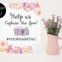 Wedding hashtag sign printable - Wedding hashtag sign - Printable hashtag sign - Wedding hashtag sign download - Customized hashtag sign