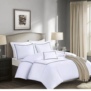 Black Border White Cotton Comforter Set