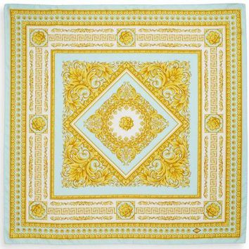 Authentic Nwt Versace Baroque Floral Print Silk 35' Square Scarf Blue Gold 90cm