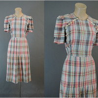 1940s Plaid Day Dress, 35 inch bust - Black, Yellow, Red Plaid Seersucker, Ivory Buttons, Vintage Swing Dress