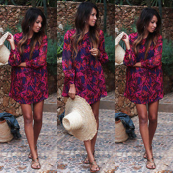 Vintage Women Boho Floral Print Long Sleeve Party Evening Mini Dress