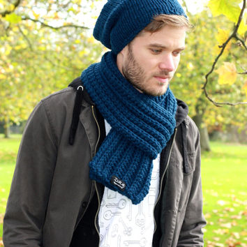 Men's Scarf Hand Knit Chunky Textured Scarf Women s Scarf Long Scarf Winter Accessories French Navy Blue