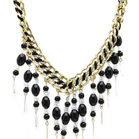 NECKLACE / HOMAICA BEAD FRINGE / BIB / DOUBLE CHAIN / INTERTWINED THREAD / LINK / 18 INCH LONG / 3 1/4 INCH DROP / NICKEL AND LEAD COMPLIANT