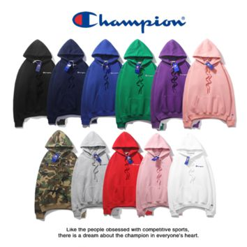 Champion autumn and winter men's wear new corduroy sport hoodie popular logo classic small embroidery men's sweater