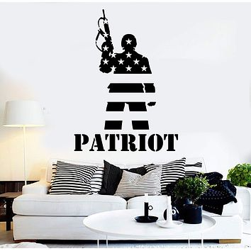 Vinyl Wall Decal Patriot American Soldier Flag Warrior Stickers Mural Unique Gift (ig4396)