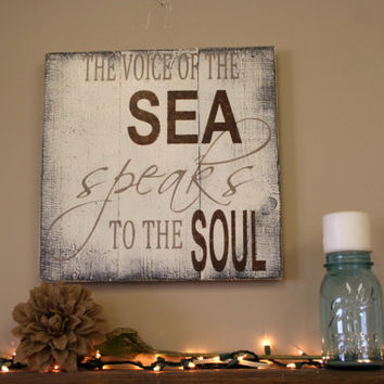 The Voice of the Sea Speaks to the Soul Beach Sign Beach House Sign Pallet Sign Shabby Chic Decor Rustic Chic Decor Distressed Wood Vintage
