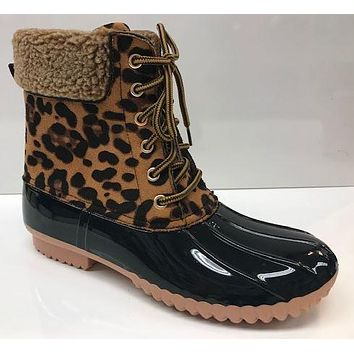 FALL WOMENS FAUX FUR CUFF WEATHER DUCK BOOTS