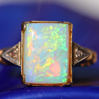 Opal Diamond Ring 10K Gold Australian
