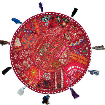 "Beautiful 22"" Decorative Round Floor Pillow in Red Cushion round embroidered Bohemian floor cushion pouf Vintage Indian Foot Stool Bean Bag"