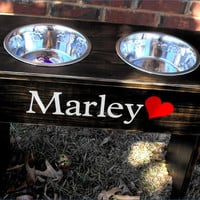 Personalized Large Shabby Raised Dog Bowl Stand - 18'' Tall - 2 Two Quart Bowls