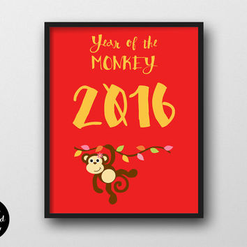 Year Of The Monkey 2016 - Chinese New Year Nursery Decor, Printable Wall Art, Playroom Poster, Children Wall Decal, Cute Ape, Red