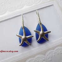 Cobalt Blue Sea Glass Frosted Earrings, Gift for Her, Dangle Drop Silver Plated Sea Star, Sea Glass Jewelry
