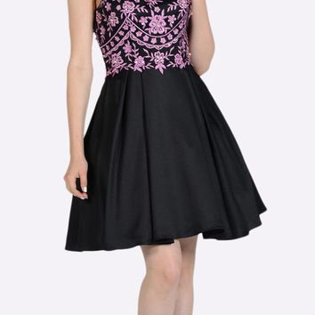 Embroidered Illusion Bodice Homecoming Short Dress Mauve