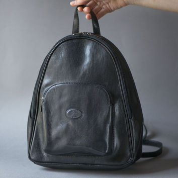 Black leather backpack L'ARTIGIANO Italy made – genuine leather backpack - rucksack 80s teen backpack - hipster backpack shoulder bag