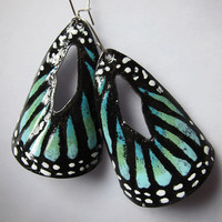 Handpainted Aqua Turquoise Butterfly Wing by OxOriginalArtJewelry