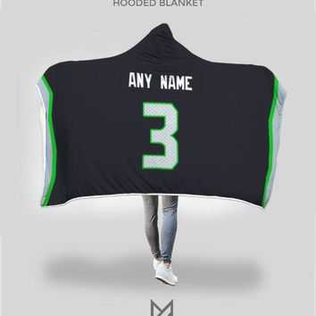 Seattle Seahawks Hooded Blanket - Personalized Any Name & Any Number