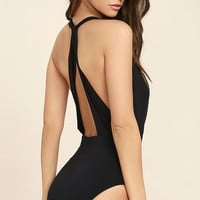 Get it Right Black Halter One Piece Swimsuit