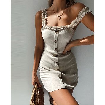Summer Classic Fashion Women Sweet Button Lace-Up Backless Sling Dress Apricot