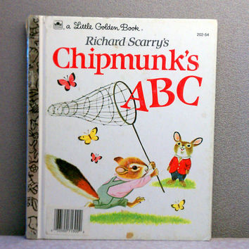 Vintage Children's Book - Richard Scarry's Chipmunk's ABC's Little Golden Book