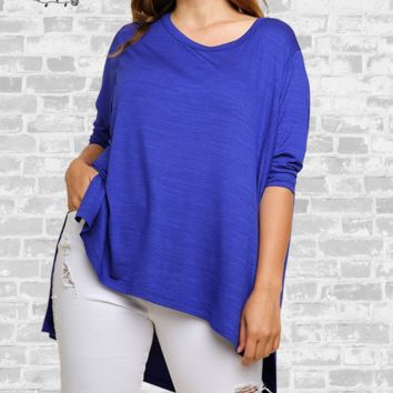 Hi-Low 3/4 Sleeve Tunic Top - Royal Blue