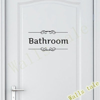 Vintage Toilet Door Bathroom Wall Sticker Decals Vinyl Art Removable Bathroom Decor (Color: Black)