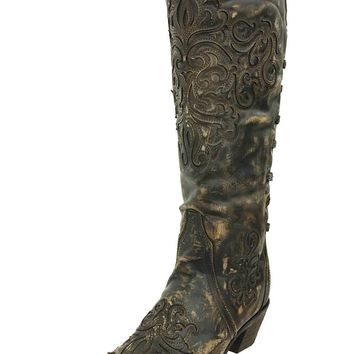 Corral Brown-Bone Inlay Back Strap Boots A3299