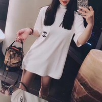 """""""Chanel"""" Women Loose Casual Simple Fashion Letter Embroidery Pocket Turtleneck Short Sleeve T-shirt Top Tee"""
