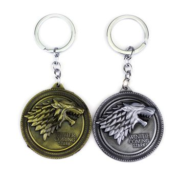 Originality TV Jewelry Game Of Thrones House Stark Badge Keychain Gothic Ice Running Of the Wolf Keychain For Keys