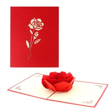 3D Pop UP Roses Flower Greeting Cards Fantastic Handmade Nature Love Bunch Birthday Party Supplies Blessing Card