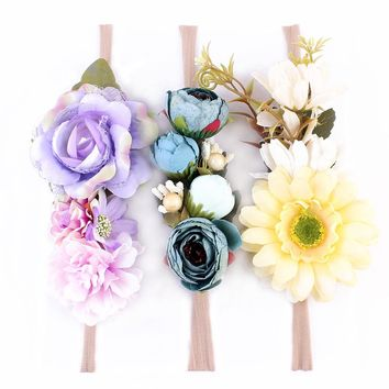3pcs/set Girl Nylon Headbands Faux Flower Soft Hair Band Kids Floral Crown Hair Accessory Photography props