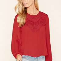 Floral Lace-Paneled Chiffon Top