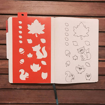 A5 Planner stencil - autumn / fall ... planner icons - reusable - bullet journal / happy planner / template